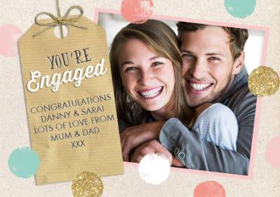 Pastel And Glitter Circles Horizontal Personalised Photo Upload Engagement Card