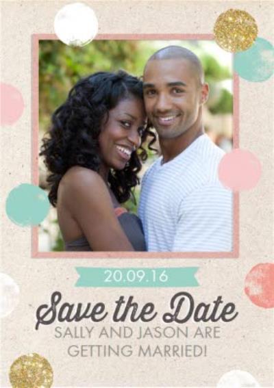 Colourful Polka Dot Save The Date Wedding Card