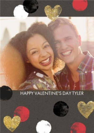Gold Glittered Hearts Happy Valentines Day Photo Card