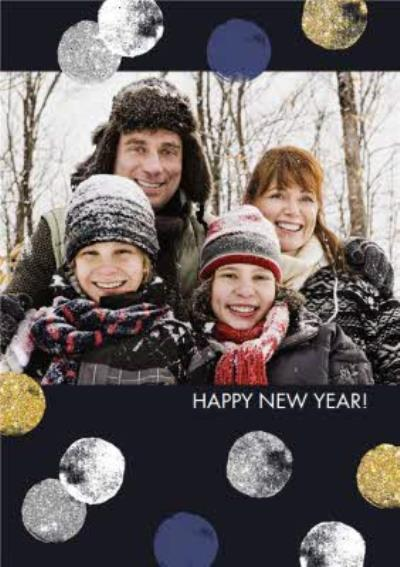 Painted Polka Dots Happy New Year Photo Card