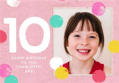 Kids Photo upload 10th birthday card