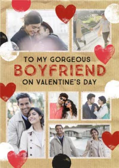 Stamped Hearts Multi-Photo To Gorgeous Boyfriend Valentine's Day Card