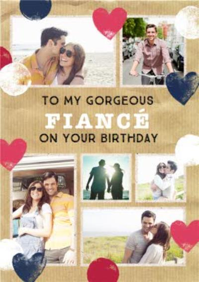 Stamped Hearts Gorgeous Fiancé Photo Birthday Card
