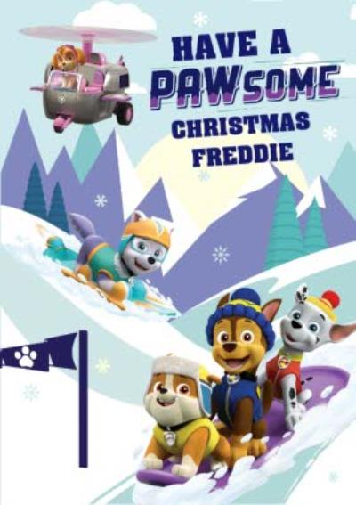 Paw Patrol On The Slopes Christmas Card