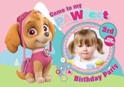 Paw Patrol Photo Upload Birthday Party Invitation