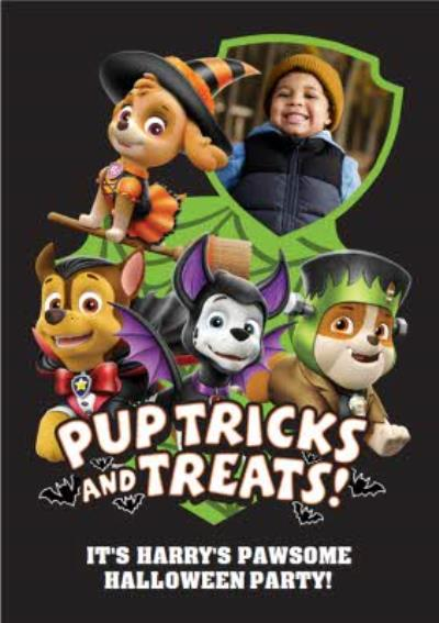 Paw Patrol Pup Tricks And Treats Personalised Halloween Party Invitation