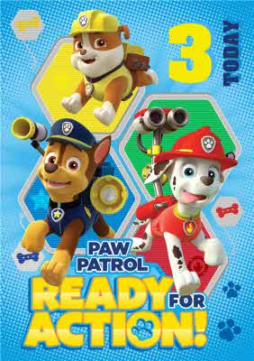 Paw Patrol 3rd Birthday Card