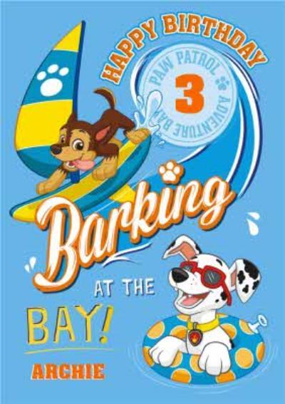Paw Patrol Barking At The Bay Personalised Happy Birthday Card