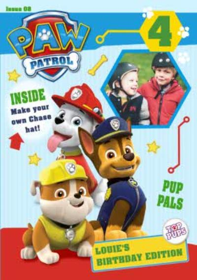 Nickelodeon Paw Patrol 4Th Birthday Card