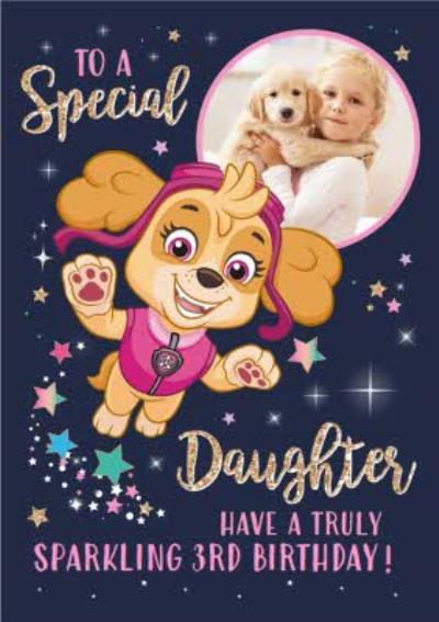 Paw Patrol Birthday Photo upload card To a Special Daughter