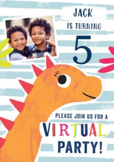 Photo Upload Dinosaur Virtual Party Invitation