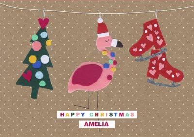 Felt Tree, Skates And Flamingo Christmas Card