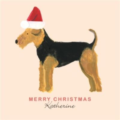 Lakeland Terrier With Hat Personalised Merry Christmas Card