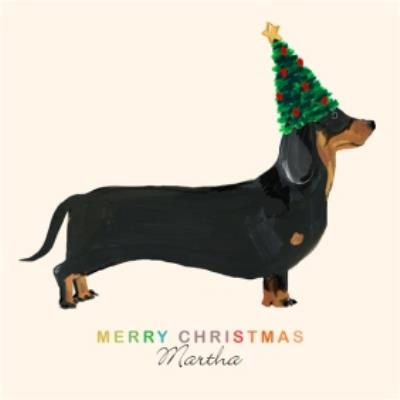 Dachshund Sausage Dog With Christmas Hat Personalised Merry Christmas Card