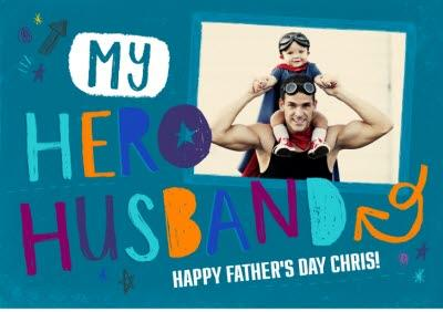 My Hero Husband Personalised Photo Card