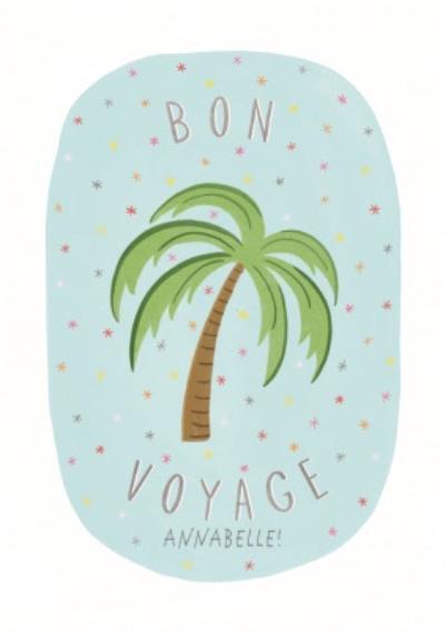 Palm Tree Bon Voyage Personalised Leaving Card