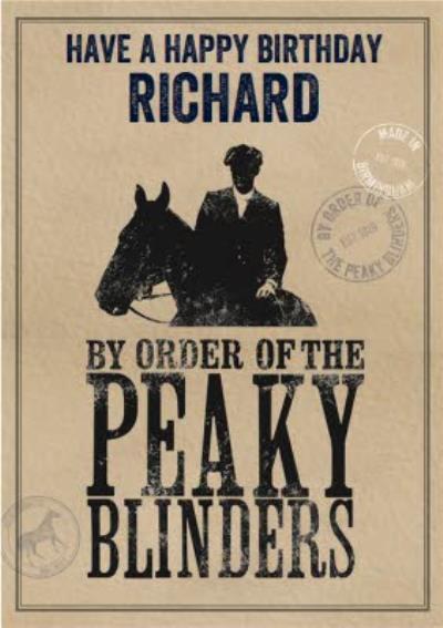 Peaky Blinders Birthday Card By Order Of The Peaky Blinders