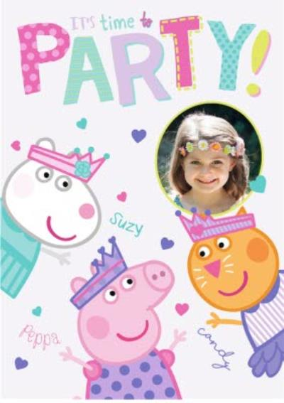 Peppa Pig Party Invitation Photo Upload Card