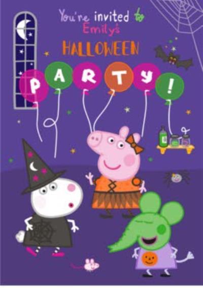 Peppa Pig Halloween Invitation Card