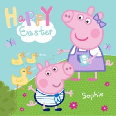 Peppa Pig Happy Easter Personalised Name Card