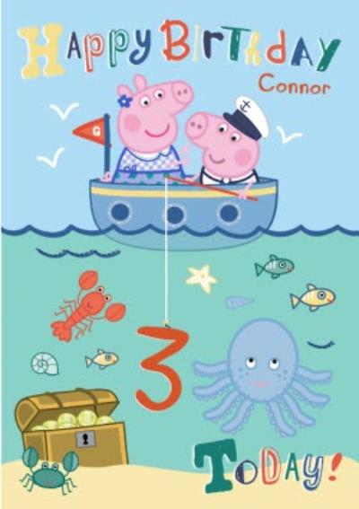 Peppa Pig Under The Sea Personalised Name And Age Birthday Card