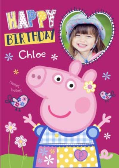 Peppa Pig Personalised Name And Photo Birthday Card