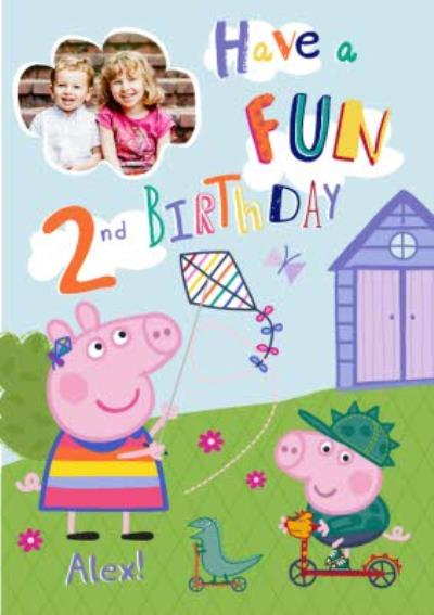 Peppa Pig In The Garden Personalised 2Nd Birthday Card