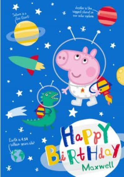 Peppa Pig In Space Personalised Name Birthday Card