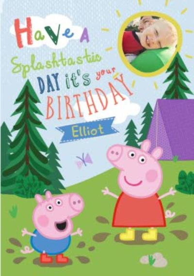 Peppa Pig In The Woods Personalised Name And Photo Birthday Card