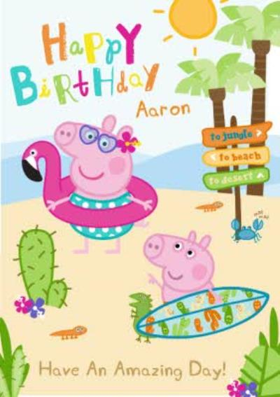 Peppa Pig At The Beach Personalised Name And Text Birthday Card
