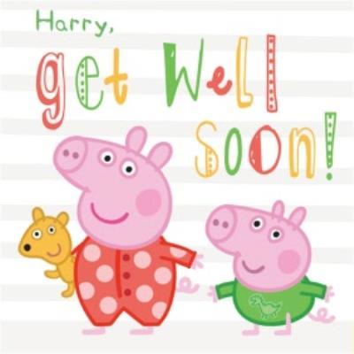 Personalised Peppa Pig Get Well Soon Card