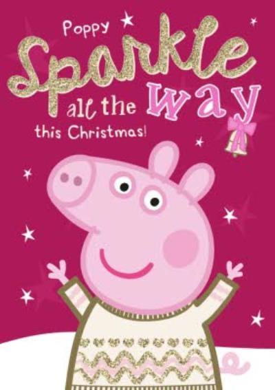Peppa Pig Sparkling Personalised Christmas Card