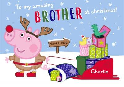 Peppa Pig Brother At Christmas Personalised Card