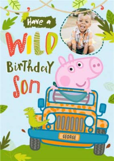Peppa Pig Son Birthday Photo Upload Card