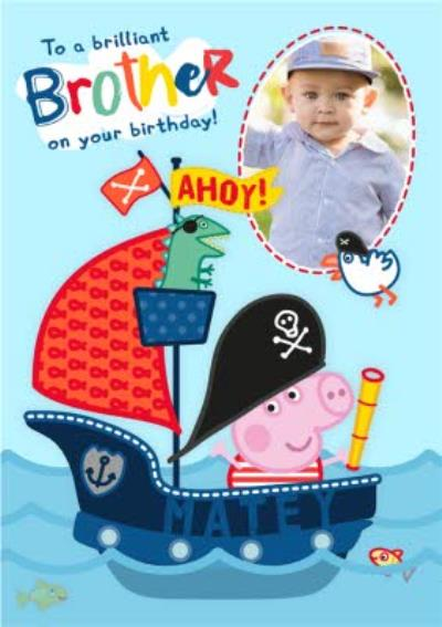 Peppa Pig Brother Birthday Photo Upload Card