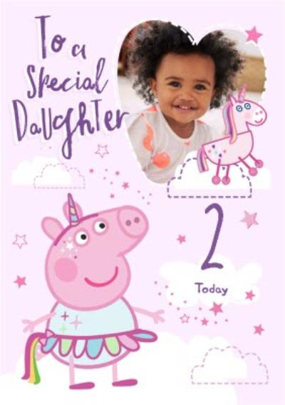 Peppa Pig Special Daughter Photo Upload Birthday Card