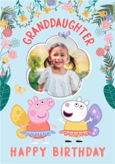 Peppa Pig Granddaughter Photo Upload Birthday Card