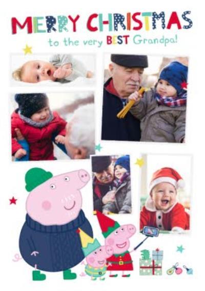 Peppa Pig Best Grandpa Photo Upload Christmas card