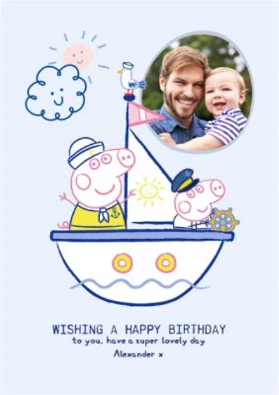 Peppa Pig and George super lovely photo upload Birthday card