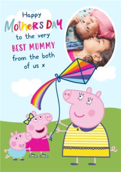 Cute Peppa Pig and George From The Both Of Us Mother's Day Card For The Best Mummy
