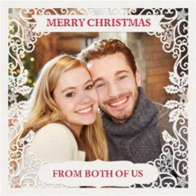Paper Frames Photo Upload Christmas Card Merry Christmas From Both Of Us