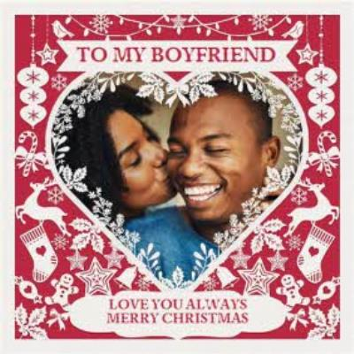 Paper Frames Photo Upload Christmas Card To My Boyfriend Love You Always Merry Christmas