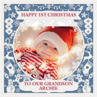 Paper Frames Photo Upload Christmas Card Happy First Christmas To Our Grandson