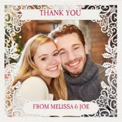 Paper Frames Photo Upload Christmas Thank You Card