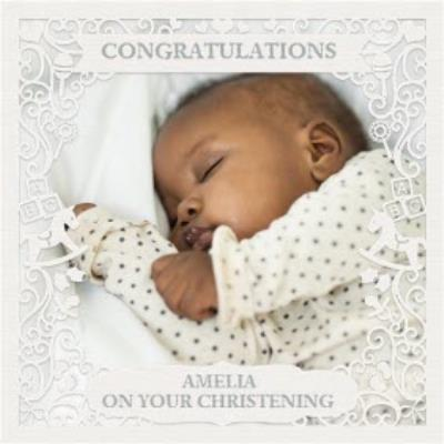Paper Frames Photo Upload Congratulations On Your Christening Card