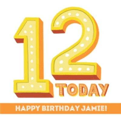 Typographic 12 Today Happy Birthday Card