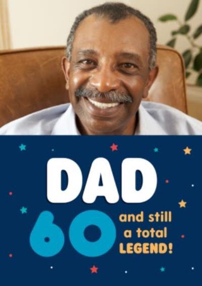 Illustrative Star Typographic Dad Photo Upload Birthday Card