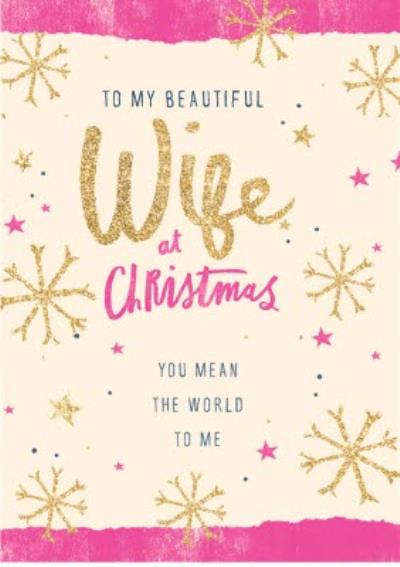 Glitter Effect Wife At Christmas Card