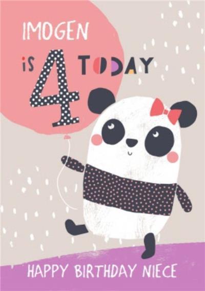 Niece Happy Birthday Card - Panda - 4 Today