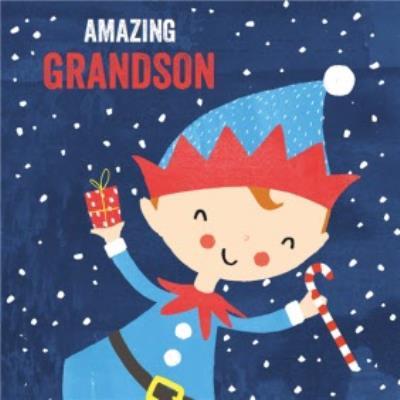 Pigment Amazing Grandson Christmas Card